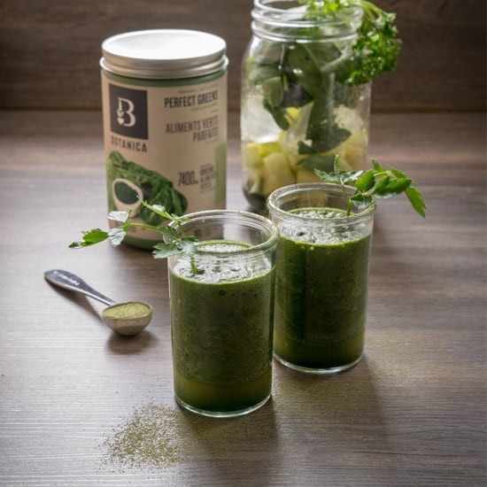 Front view Botanica health Perfect Greens unflavoured along glass of Summer refresh gluten free and vegan Maple Moringa Green Smoothie.